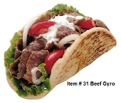 Greek style Beef Gyro with Fries & Soda item #32