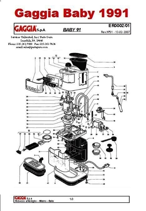 Gaggia baby twin/diagrams and manuals whole latte love support.